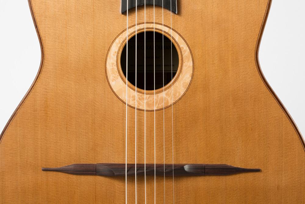 Detail sound hole Manouche guitar| Kazourian Luthier Montréal
