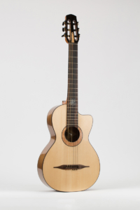 3/4 view Gypsy Parlor Guitar | Kazourian Luthier